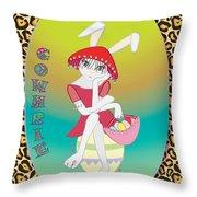 Bunnie Girls- Cowhrie- 3 Of 4 Throw Pillow by Brenda Dulan Moore