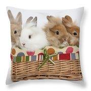 Bunnies In A Basket Throw Pillow