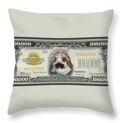 Bunny Money Throw Pillow