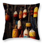 Buoys On Fishing Shack - Greeting Card Throw Pillow