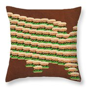 Burger Town Usa Map Brown Throw Pillow