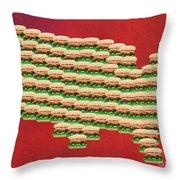 Burger Town Usa Map Red Throw Pillow