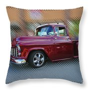Burgundy Hot Rod Pick Up Abstract Throw Pillow