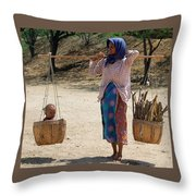 Burman Woman And Son Throw Pillow