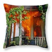 Burning House Throw Pillow