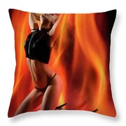 Burning In Flames Throw Pillow