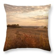 Burning Leaves On The Farm Throw Pillow