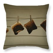 Burnt Toast Hanging On Clothesline Throw Pillow