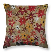 Burst Of Flowers Yellow And Red Throw Pillow