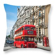 Bus On Piccadilly Throw Pillow
