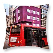 Bus Stop - La Coruna Throw Pillow