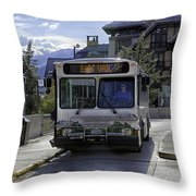 Bus To East Vail - Colorado Throw Pillow