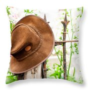 Bush Hat On Railing Throw Pillow