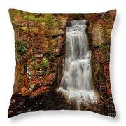 Bushkill Main Falls Throw Pillow