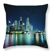 Business District Skyline At Night Throw Pillow