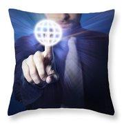 Businessman Pressing Touch Screen Button Throw Pillow