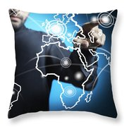 Businessman Touching World Map Screen Throw Pillow by Setsiri Silapasuwanchai