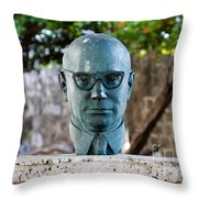 Bust Of Carlos Lleras Restrepo In Cartagena De Indias Colombia Throw Pillow