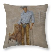 Busted Bronc Rider Throw Pillow