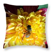 Busy Bee On Yellow Flower Throw Pillow