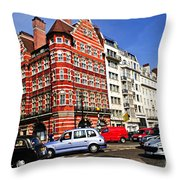 Busy Street Corner In London Throw Pillow