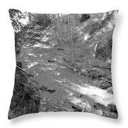 Butte Creek In Black And White Throw Pillow