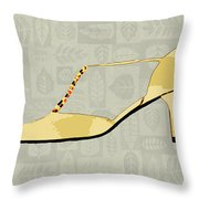 Butter Yellow Leather T Strap Heel Throw Pillow