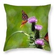 Butterflies On Thistles Throw Pillow