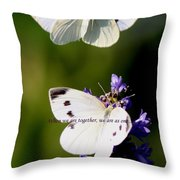 Butterfly - Cabbage White - As One Throw Pillow