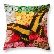 Butterfly And Buttons Throw Pillow