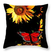 Butterfly And Sunflower Throw Pillow