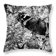 Butterfly Bark Black And White Throw Pillow
