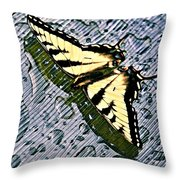 Butterfly In Rain Throw Pillow