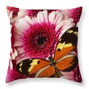 Butterfly On Pink Mum Throw Pillow