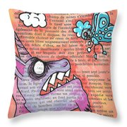 Butterfly Vs Unicorn Throw Pillow