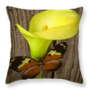 Butterfly With Calla Lily Throw Pillow