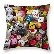 Buttons And Dice Throw Pillow