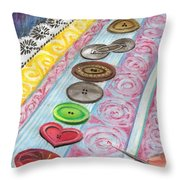 Buttons Down The Ages Throw Pillow