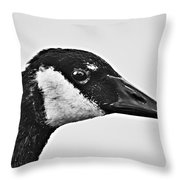 Bw Portrait-canadian Goose Throw Pillow