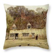 By The Old Cottage Throw Pillow