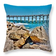 By The Pier Throw Pillow by Betsy Knapp