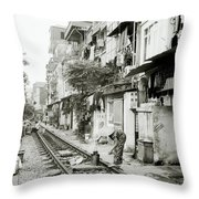 By The Tracks In Hanoi Throw Pillow