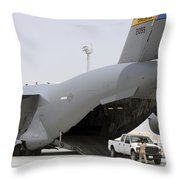 C-17s Deliver, Pick-up Cargo Throw Pillow
