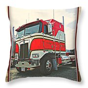 Cab-over Kenworth Throw Pillow
