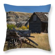 Cabin And Wagon Alberta  Throw Pillow