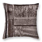 Cabin Door Bw Throw Pillow