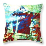 Cabin In The Fog Throw Pillow