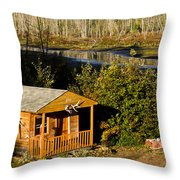 Cabin On The River Throw Pillow
