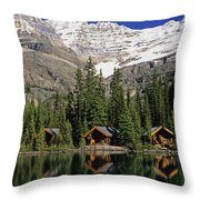 Cabins, Sargents Point, Lake Ohara Throw Pillow