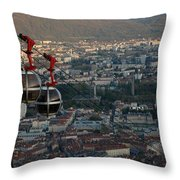 Cable Car In Grenoble  Throw Pillow
